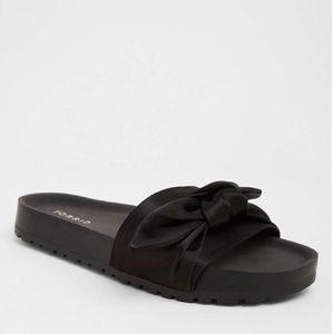 Shoes - BLACK SATIN BOW POOL SLIDES (WIDE WIDTH)